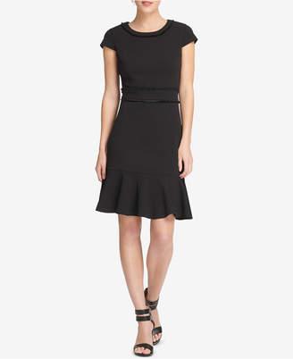 DKNY Fringe-Trim A-Line Dress