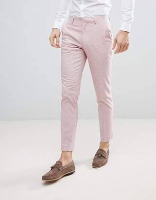 Asos Design Wedding Skinny Suit Pants In Pink Cross Hatch