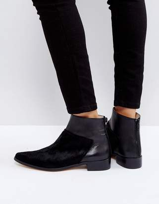 Intentionally Blank Dallas Black Leather Flat Ankle Boots