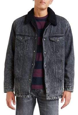 Levi's Premium Faux Fur Lined Long Denim Trucker Jacket