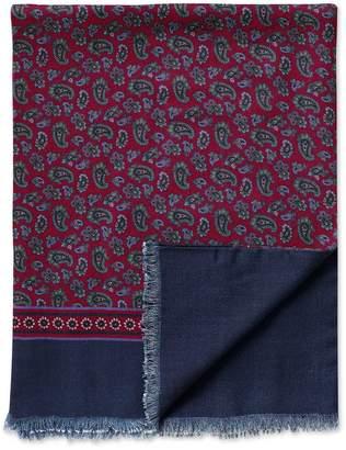 Charles Tyrwhitt Burgundy Printed Paisley Wool Scarf