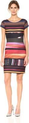 Desigual Women's Second Woman Knitted Short Sleeve Dress, burgundy, L