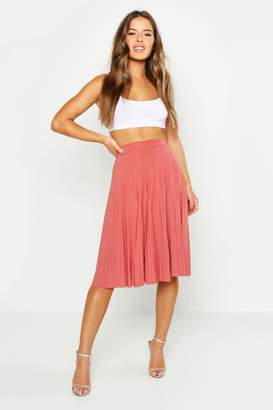 boohoo Petite Slinky Pleated Midi Skirt