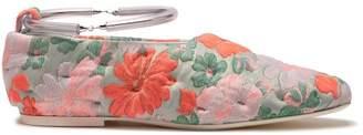 Jil Sander Floral Brocade Bracelet Strap Flats - Womens - Pink Multi