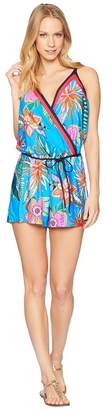 Trina Turk Tahiti Tropical Romper Cover-Up Women's Swimsuits One Piece