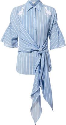 Jonathan Simkhai Lace Striped Tie Shirt
