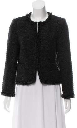 Alice + Olivia Tweed Fringe-Trim Jacket