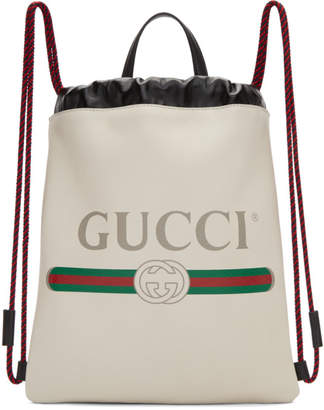 f539f70c182f Gucci White Small Logo Drawstring Backpack