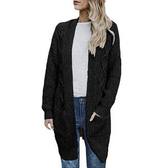 eac3d07544ce49 Limsea Women Blouse Limsea Womens Open Front Chunky Cable Knit Long Sleeve  Long Cardigans Sweater Pockets