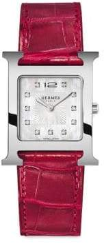Hermes Heure H Diamond, Stainless Steel& Red Alligator Strap Watch