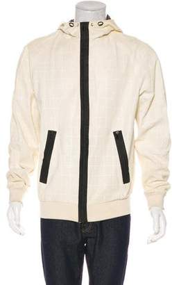 Drome Leather Mesh Zip-Up Hoodie