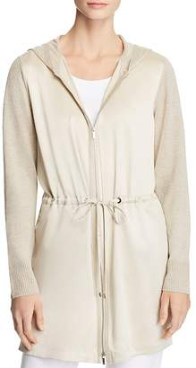 Lafayette 148 New York Mixed Media Hooded Zip Cardigan