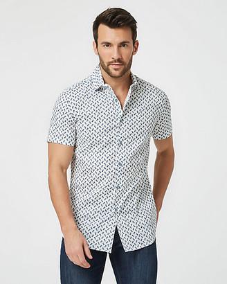 Le Château Pineapple Print Cotton Poplin Slim Shirt
