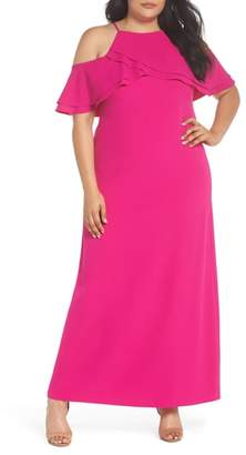 Marina Ruffle Cold Shoulder Gown
