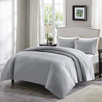 Comfort Spaces Kienna Quilt Mini Set - 3 Piece - Gray - Stitched Quilt Pattern - Full/Queen size