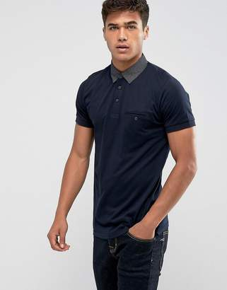French Connection Polo Shirt with Contrast Woven Collar