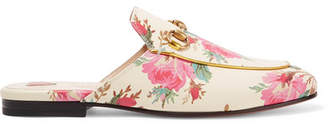 Gucci Princetown Horsebit-detailed Printed Leather Slippers - Cream