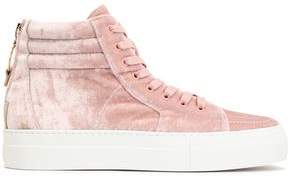 Buscemi Embellished Velvet High-Top Sneakers