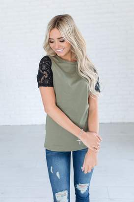 Ampersand Avenue Lace Sleeve Tee - Olive