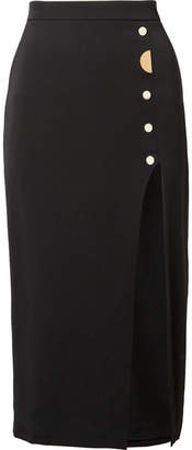 Cushnie et Ochs Dahlia Embellished Stretch-silk Crepe Pencil Skirt - Black