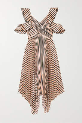 Self-Portrait Cutout Pleated Striped Satin Dress - Neutral