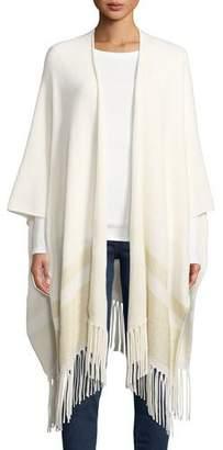 Neiman Marcus Cashmere Metallic Stripe Fringe Shawl