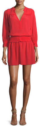 BA&SH Trac Split-Neck Long-Sleeve Short Dress