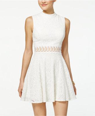 City Studios Juniors' Lace Mock-Neck Fit & Flare Dress $69 thestylecure.com