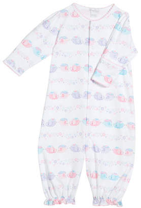 Kissy Kissy Eloquent Elephants Printed Convertible Gown, Size Newborn-S