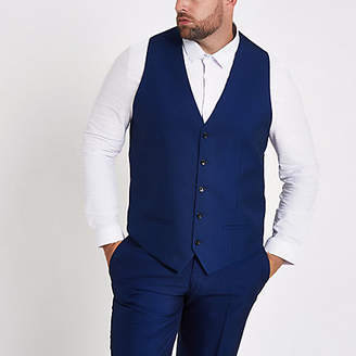 River Island Big and Tall blue single-breasted waistcoat