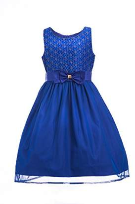 Emma Riley Girls' Sleeveless Lace Bodice Mesh Pleated Skirt Princess Party Dress