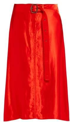 Sies Marjan Rayna Buckled Satin Skirt - Womens - Red