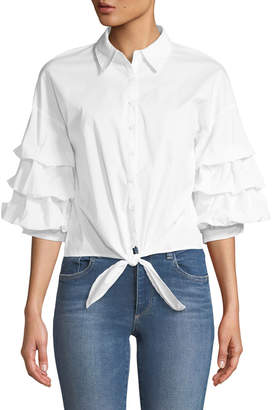 Marled By Reunited Tiered-Sleeve Button-Down Blouse