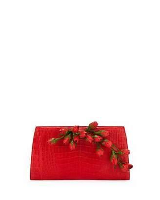 Nancy Gonzalez Rose Bud Slicer Crocodile Clutch Bag