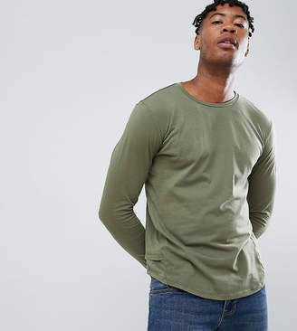 Religion Tall muscle fit long sleeve t-shirt in khaki with drop hem