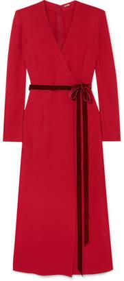 ADAM by Adam Lippes Wrap-effect Velvet-trimmed Crepe Midi Dress - Red