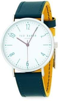 Ted Baker Analog Stainless Steel Leather Strap Watch