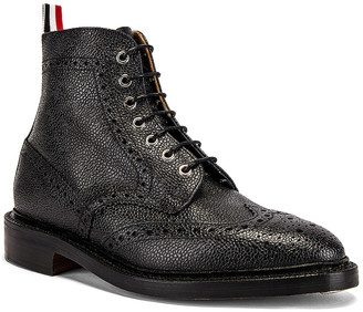 Thom Browne Wingtip Leather Boots in Black | FWRD