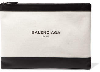 Balenciaga Clip Medium Leather-trimmed Canvas Pouch - White