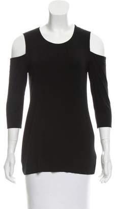 Bailey 44 Woman Cold-shoulder Burnout Jersey Top Black Size L Bailey 44 Latest 6GBGJ0MY