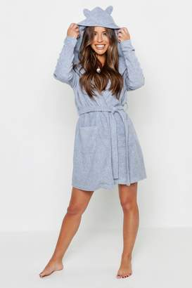boohoo Petite Novelty Soft Fleece Bear Hooded Robe d0a7b974e