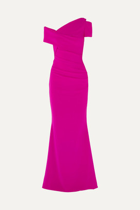 Talbot Runhof Moa One-shoulder Ruched Stretch-crepe Gown - Fuchsia
