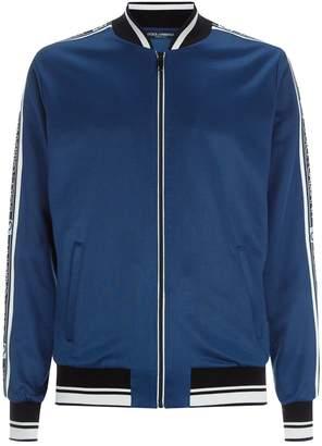 Dolce & Gabbana Logo Stripe Zipped Jacket