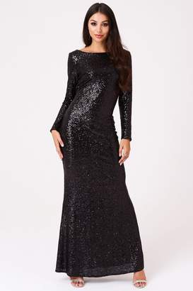 Outrageous Fortune Sequin Cowl Back Maxi Dress