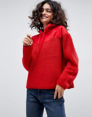 Asos Design Jumper with Hood in Knit and Sweat Mix