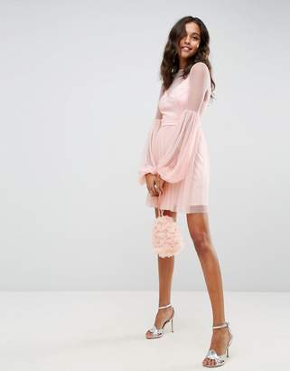 Asos Dobby Mesh Balloon Sleeve Mini Dress