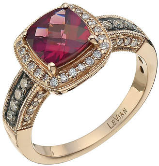 Le Vian 14ct Strawberry Gold 0.33ct diamond & rhodolite ring