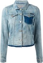 Calvin Klein Jeans 磨损边下摆牛仔夹克