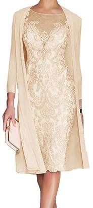 Fitty Lell Women's Knee Length Lace Mother of The Bride Dress with Chiffon Jacket(US,)