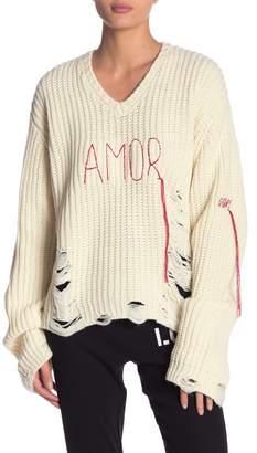 Peace Love World Graziella Amor Distressed Knit Sweater